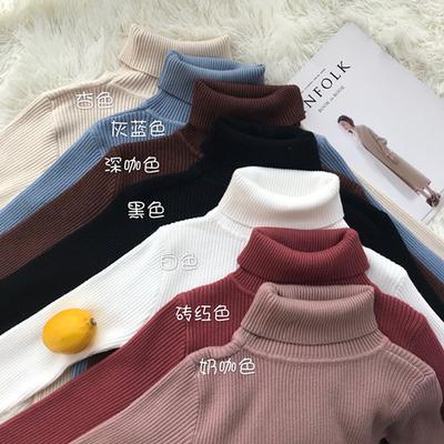 秋冬女装韩版纯色高领修身显瘦加厚打底衫针织衫外穿毛衣上衣外套
