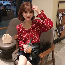 打底衫 红色上衣蕾丝衫 时尚 荷叶边V领波点衬衫 休闲春季女装 韩版