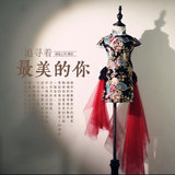 Girls cheongsam dress spring and autumn guzheng costumes stage catwalk retro girls wear Chinese style Chinese dress