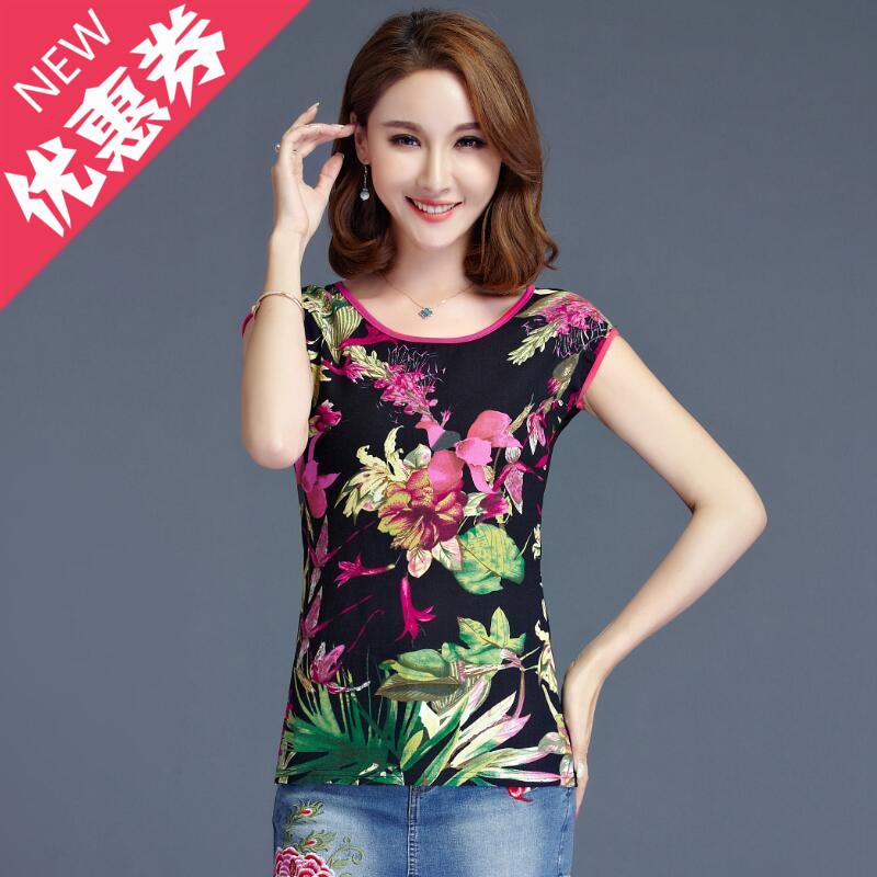 2017夏季新款民族风女装修身中国风印花短袖T恤打底衫女 棉麻上衣