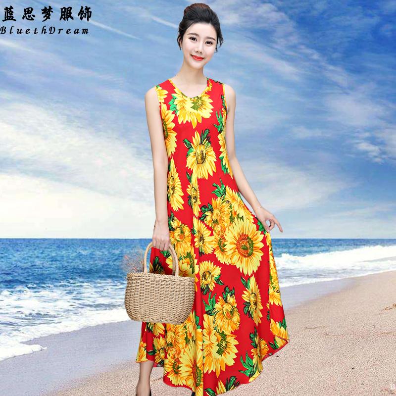 夏季无袖背心裙女波西米亚民族风印花大码棉绸连衣裙过膝沙滩裙