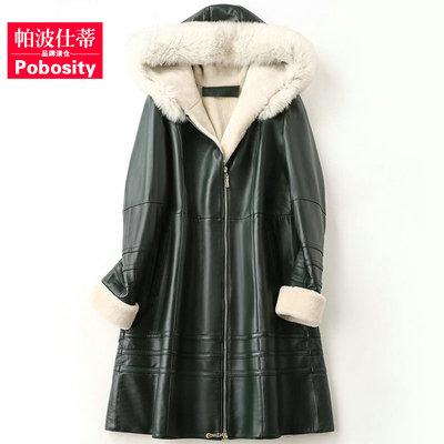 帕波仕蒂2018秋冬季海宁新款羊毛皮草大衣女式长款真皮绵羊皮外套