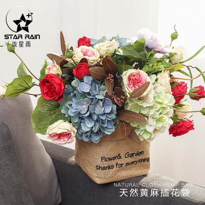 时尚天然黄麻插花袋鲜花包装袋花束袋多肉玫瑰花袋子抱抱袋防水