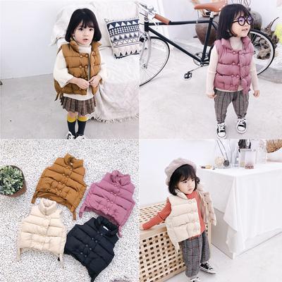 女童棉马甲冬装新款宝宝洋气加厚坎肩婴儿童立领保暖面包服1-3岁4