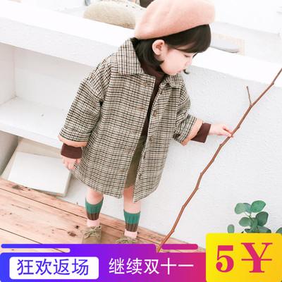 女童呢子大衣秋冬装新款韩版中小童格子风衣宝宝中长款外套1-3岁4