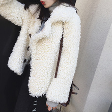 Sheep curly fur-like Teddy wool jacket female short lamb fur in one body and two sides wear pellet shearing