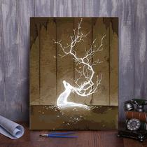 元68照片定制创意礼物推广价原木油画DIY像纯手绘人物画