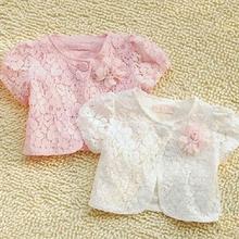 2019夏装儿童宝宝女童装纯棉镂空短袖短款小披肩坎肩开衫外套薄款