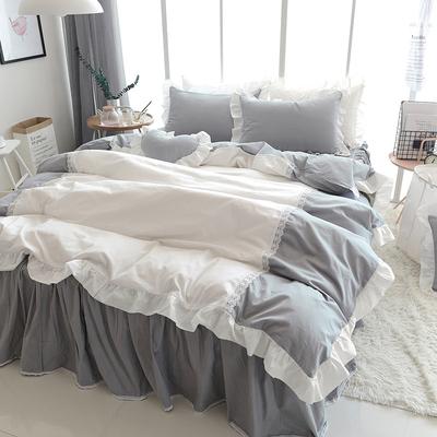 韩式蕾丝公主四件套纯棉粉色简约全棉床品1.5/1.8m床上用品4件套好不好