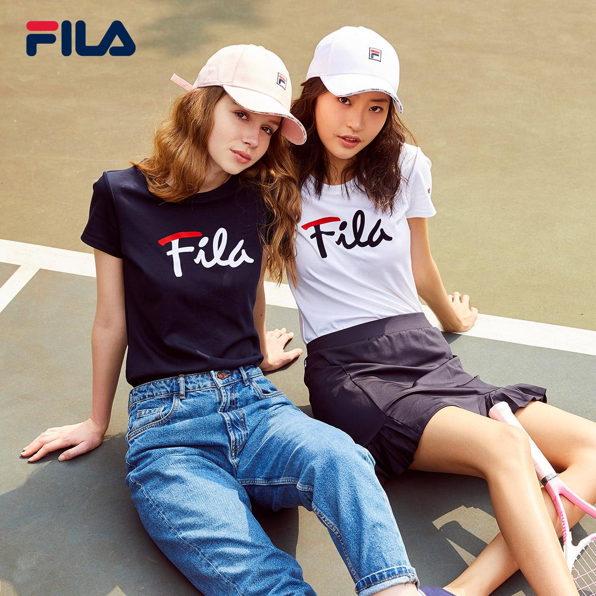 FILA 斐乐官方女子短袖T恤2020春季新款t棉运动打底衫情侣多彩T