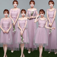 Bridesmaid dress female 2018 new Korean sister group bridesmaid dress long gray slimming word shoulder dress short