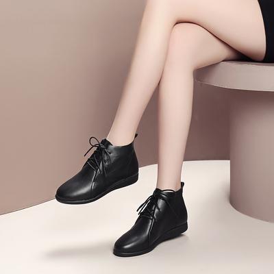 马丁靴女2018秋冬新品圆头低跟女靴真皮平底系带及踝靴牛皮短靴女