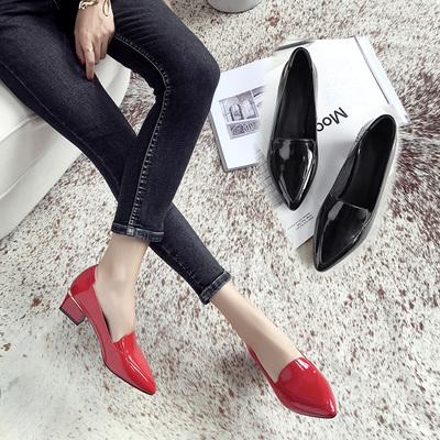 2018秋新品中跟单鞋女欧美风漆皮浅口OL工作鞋大红色婚鞋粗跟女鞋