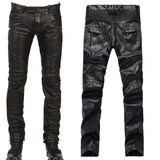 2018 autumn and winter new European and American style men's casual locomotive punk Slim small straight leather pants men's pants tide