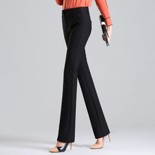 Fall 2019 New Straight Trousers Women's Trousers High waist, Black Large Size Elastic Slim Korean Suit Trousers and Leisure Pants