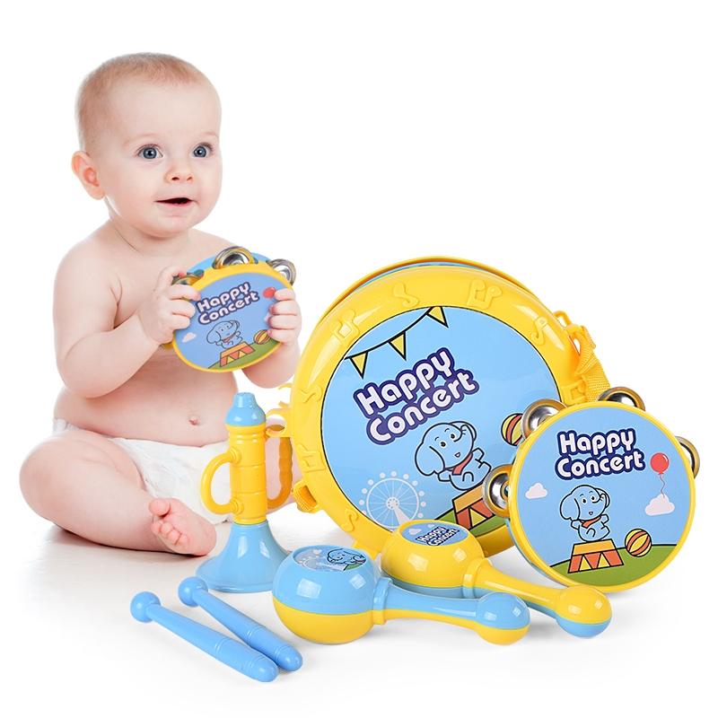 宝丽音乐欢乐乐器组合儿童摇铃喇叭沙锤手拍鼓过家家玩具套装