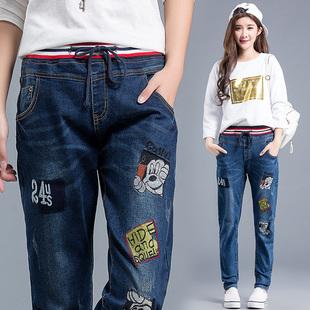 初中女生牛仔裤高中学生春秋季宽松紧腰带可爱卡通长裤弹力少女裤