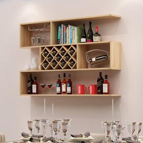 家用餐厅墙上酒架置物架现代简约红酒架壁挂式酒柜创意酒格子菱形