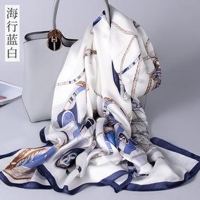 杭州丝绸真丝丝巾女100%桑蚕丝长款围巾披肩夏季百搭新款防晒沙滩