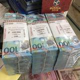 2018年世界杯纪念钞俄罗斯100卢布zu球塑料钞纸钱现货带册礼品