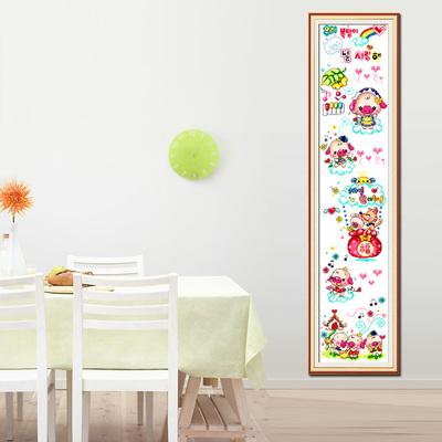 2018新款线绣十字绣客厅竖版卡通图案动物儿童卧室可爱小猪身高表