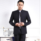 Zhongshan suit men's suit youth youth slim suit thin coat Chinese stand collar summer wedding suit Zhongshan suit