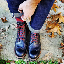 European and American Block, British style, retro leisure, black tooling, Martin locomotive boots, men's and women's leather upper shoes