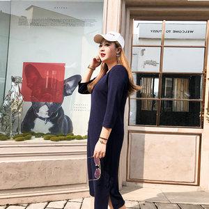 美动态大码女装2018初秋新款微胖显瘦长裙胖mmbf风藏肉连衣裙洋气