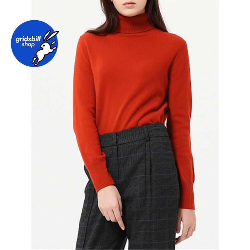 折扣 SJYP BLACK 18秋冬 磚紅色高領彈力羊絨打底衫毛衣針織衫