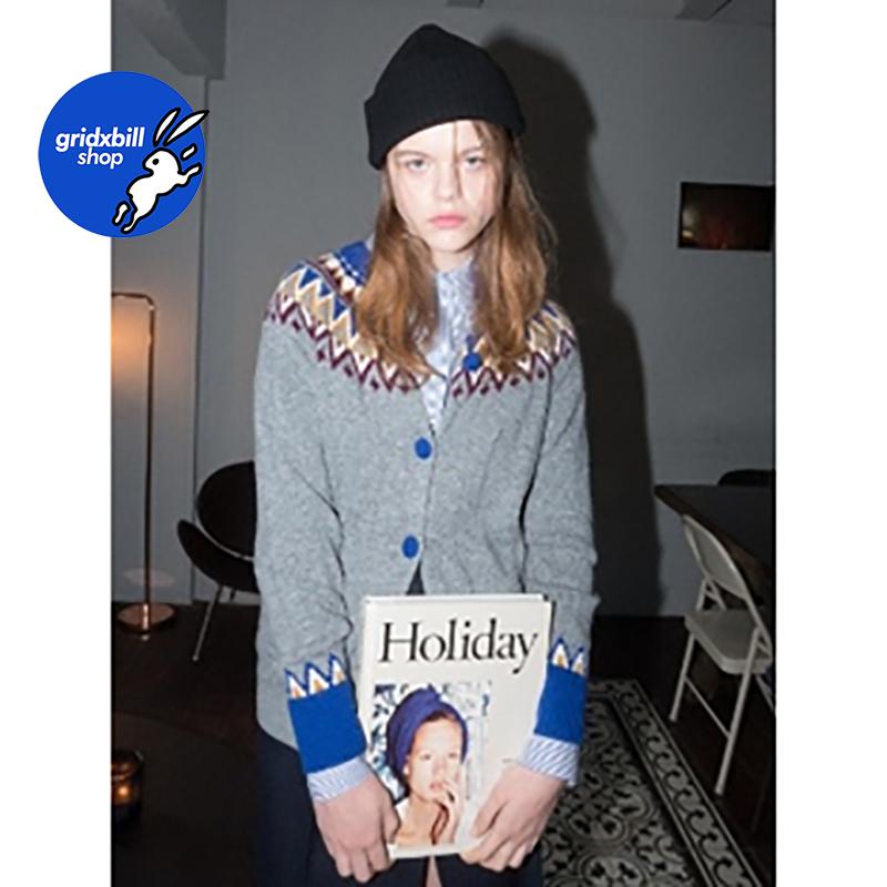 折扣 SJYP BLACK 18秋冬 灰色復古提花紋撞色紐扣口袋羊毛針織衫