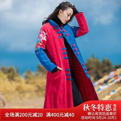 尤瑾秋冬新款原创民族风女装中国风复古刺绣中长款棉袄唐装棉衣女