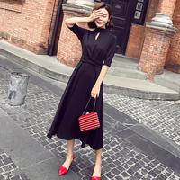 小黑裙连衣裙赫本长袖