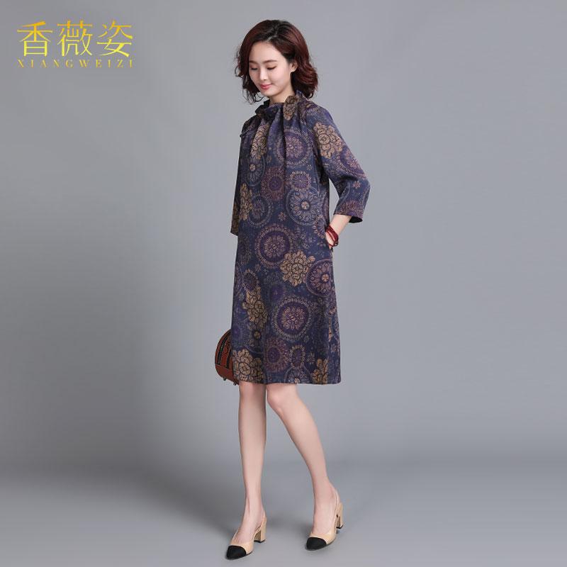 香薇姿2019春夏真丝香云纱连衣裙中国风复古印花桑蚕丝妈妈装裙子