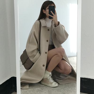 韩版大码宽松反季秋冬新品长款单排扣大衣纯色显瘦毛呢外套女学生