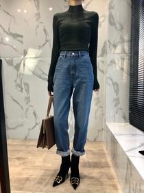 牛仔裤女春季2019新款宽松直筒复古高腰显瘦哈伦萝卜裤锥形老爹裤