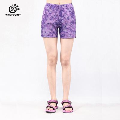 tectop探拓速干裤 户外登山短裤夏季薄款沙滩裤三分短裤迷彩女款