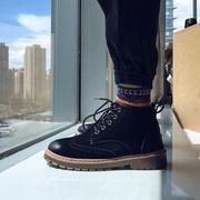 秋季布洛克马丁靴男韩版潮高帮鞋子男潮鞋学生英伦风中帮工装短靴
