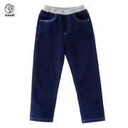 安奈儿童装男童牛仔裤秋冬款中大童厚单长裤宽松直筒AB736711