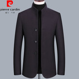 Pierre Cardin middle-aged jacket men's cashmere short paragraph collar father loaded spring and autumn wool casual jacket male