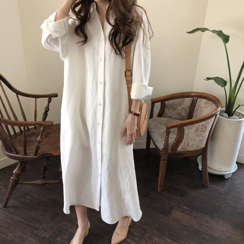 长款衬衫裙2019春装新款韩国宽松休闲棉麻寸衫过膝超长款白衬衣女