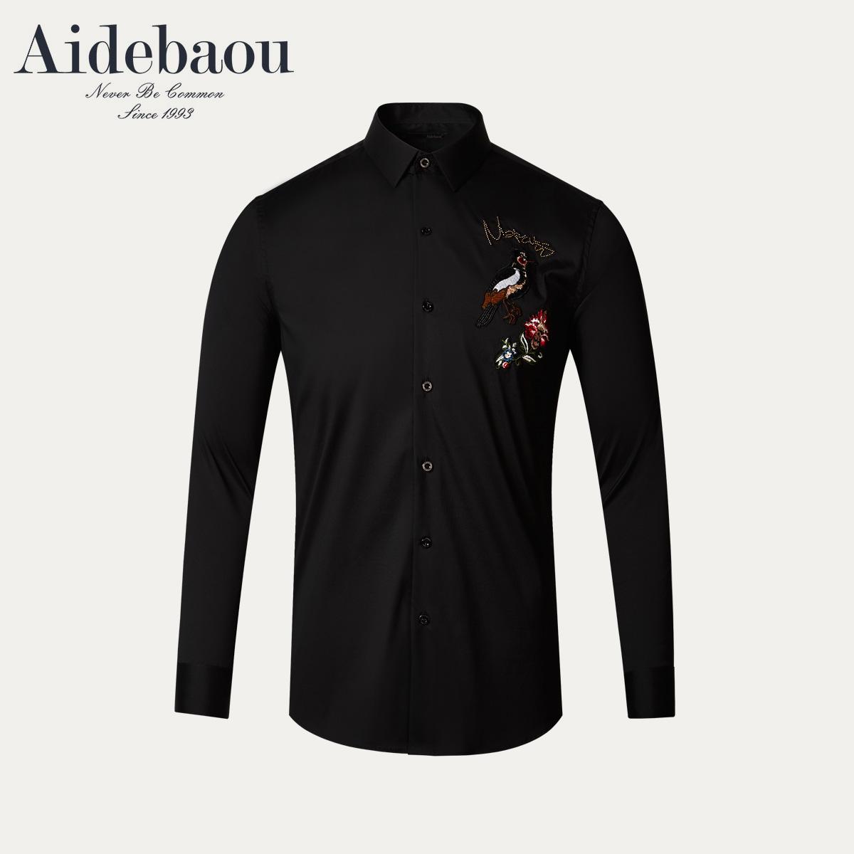 爱得堡气质休闲衬衫男复古时尚修身纯色衬衣男士刺绣花长袖上衣潮