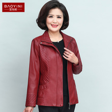Mother's leather jacket for middle-aged and middle-aged women New style women's leather jacket for spring 2019 40 years old and 50 years old