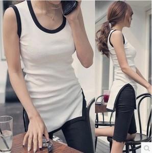 图片:紧身韩国夏女侧开叉无袖撞色中长款背心修身显瘦纯棉白色T恤上衣