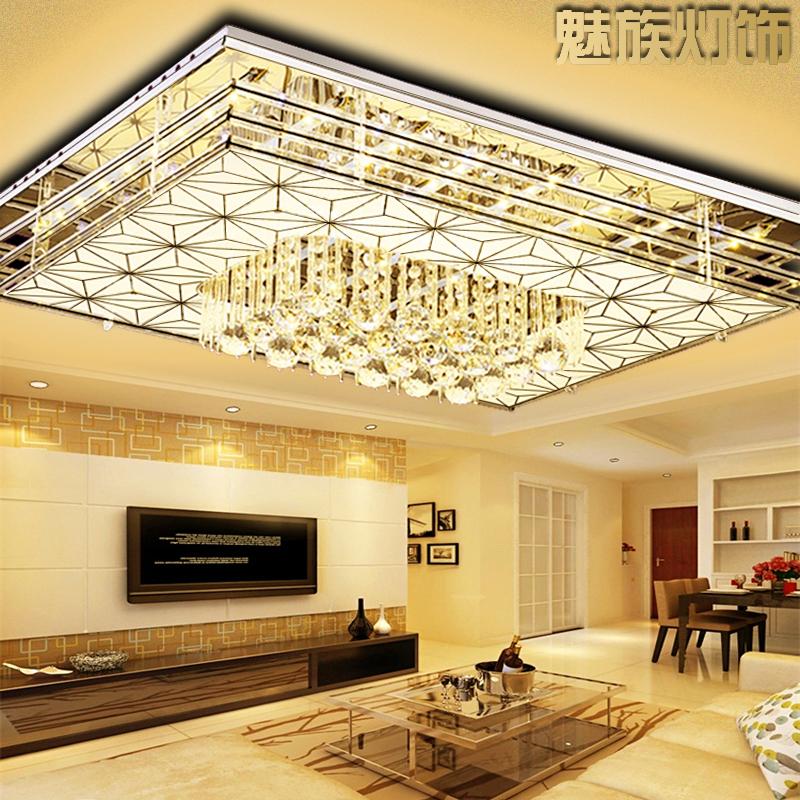 LED客厅灯 长方形水晶吊灯 现代简约 大厅遥控变色餐厅卧室灯灯具