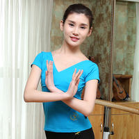 Red shoes dance short-sleeved shirt female front cross shirt cotton short-sleeved t-shirt aerobics top Latin practice clothes