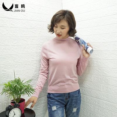 16针精纺羊毛衫女超细2018秋季新款薄款半高领打底长袖针织衫上衣