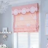 粉色云朵窗帘升降提拉折叠半遮光罗马帘北欧儿童房女孩卧室公主风