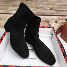New Square Head Socks, Boots, Thick heels, Shoes, Elastic Boots, Fall and Winter 2019