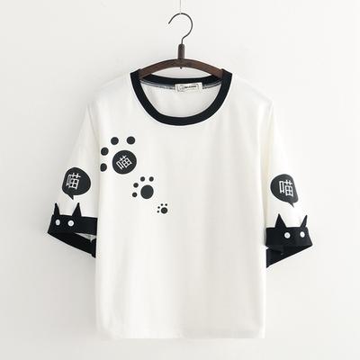 日系森女短袖T恤学生少女软萌妹上衣打底衫文艺清新印花宽松百搭