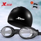 特步泳镜男士近视防水防雾高清游泳眼镜女士度数游泳镜泳帽套装备